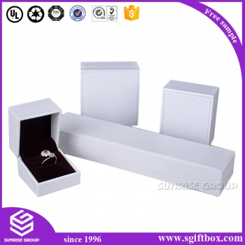 White Swirl Embossed Jewelry Boxes with cotton fill