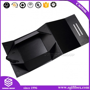 Recyclable Custom Handmade Paper Black Folding Gift box