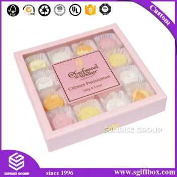 Elegent Pink Chocolate Box With Plastic Clear Window Candy Box