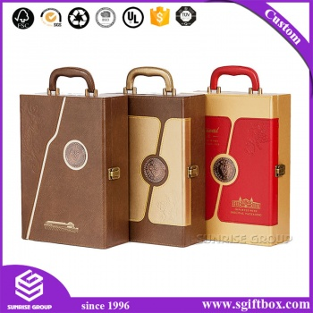 High-end Leather Luxury Handle Retro Wine Box