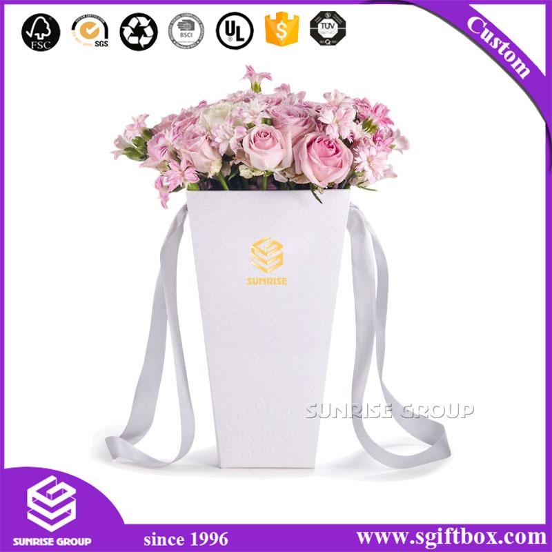 Rose Waterproof Flower Paper Packaging Box With Handle Dongguan