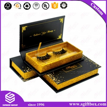 Luxury Blingbling Glitter Paper Cosmetics Eyelash Packaging Box